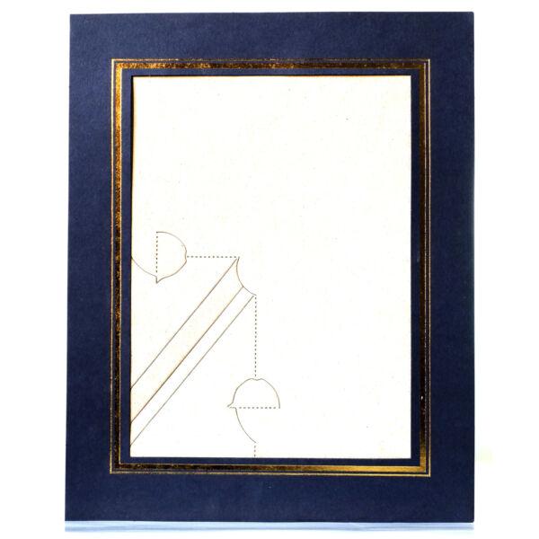 Papír Képkeret Téglalap - Kék/Arany